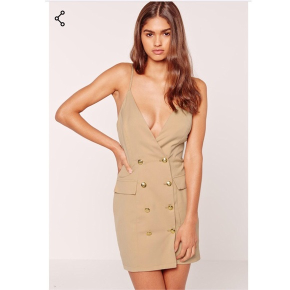 347aff7e15d5 Missguided Strappy Gold Button Tux Bodycon Dress